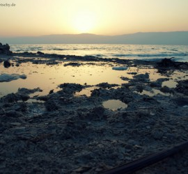 Dead Sea - Sunrise above left overs